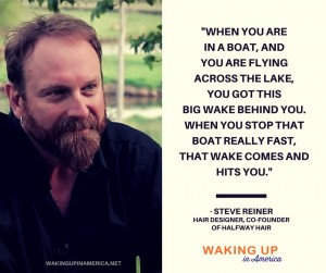 """""""When you stop that boat really fast, the wake somes & hits you."""" - Steve Reiner on #wakingupinamerica"""
